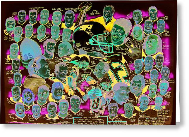 Patriots Drawings Greeting Cards - AFC Champions N.E. Patriots newspaper poster Greeting Card by Dave Olsen