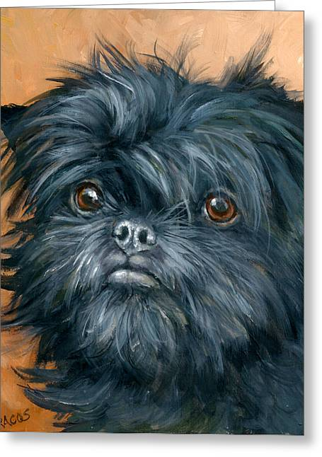 Draco Greeting Cards - Affenpinscher Portrait Greeting Card by Dottie Dracos