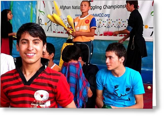 Afghan Children Circus Greeting Card by Fareeha Khawaja