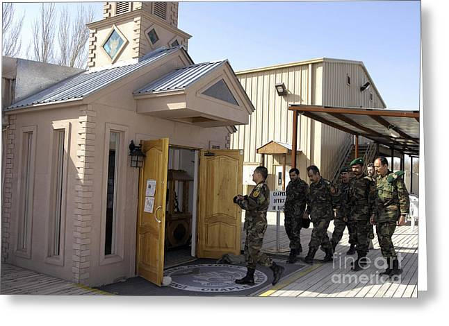 Chaplain Greeting Cards - Afghan Commanders Take A Tour Greeting Card by Stocktrek Images