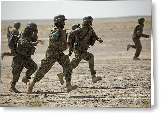 Only Men Greeting Cards - Afghan National Army Soldiers Run Greeting Card by Stocktrek Images