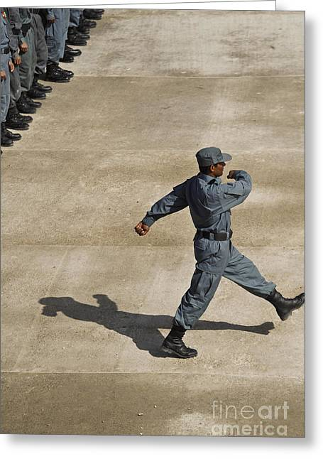 Afghanistan National Police Greeting Cards - Afghan National Policemen Participate Greeting Card by Stocktrek Images