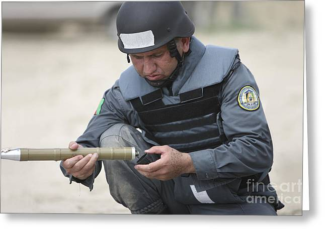 Afghanistan National Police Greeting Cards - Afghan Police Student Prepares Greeting Card by Terry Moore