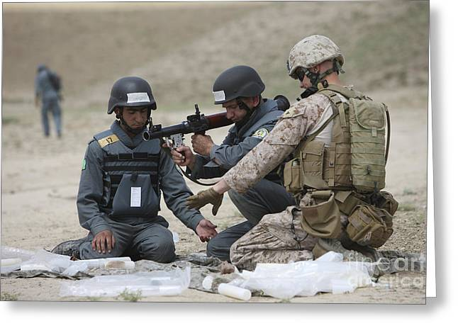Afghan Police Students Assemble A Rpg-7 Greeting Card by Terry Moore