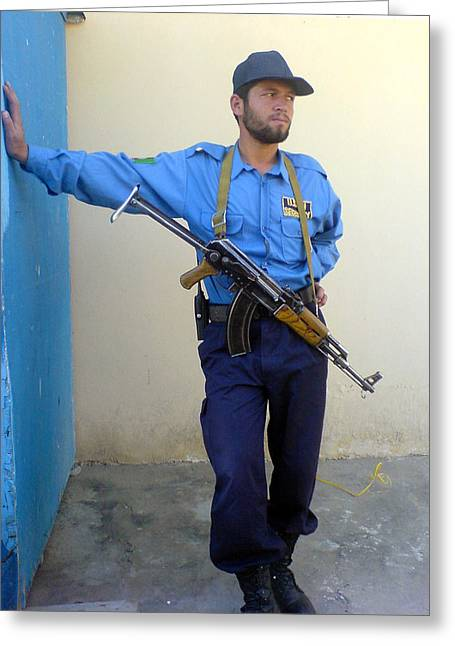 Ak47 Greeting Cards - Afghan Security Guard Greeting Card by Yvan Goudard