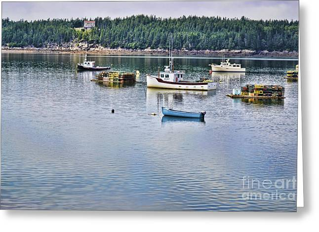 Fishing Boats Greeting Cards - Afloat Greeting Card by Traci Cottingham