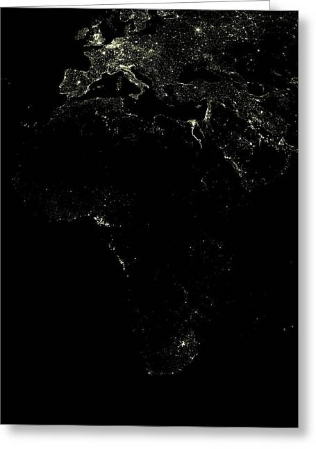 Johannesburg Greeting Cards - Africa At Night Greeting Card by Planetobserver
