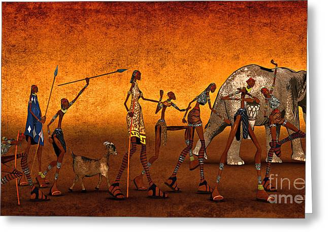 Toon Greeting Cards - Africa Greeting Card by Jutta Maria Pusl