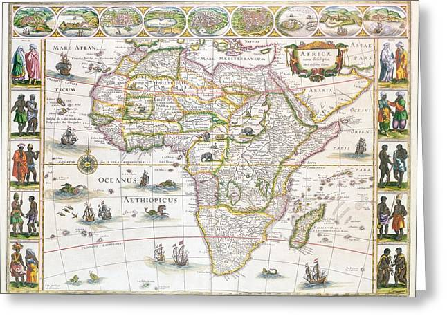 Continent Greeting Cards - Africa Nova Map Greeting Card by Willem Blaeu