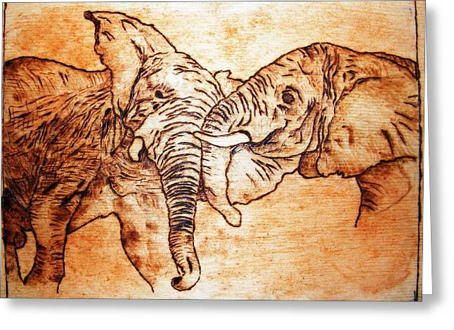 Hunting Pyrography Greeting Cards - Africa wildlife -original pyrography finish Greeting Card by Egri George-Christian