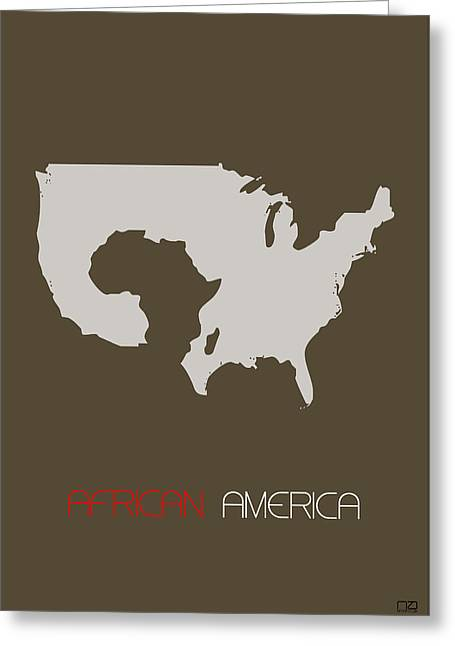 Africa Map Greeting Cards - African America Poster Greeting Card by Naxart Studio