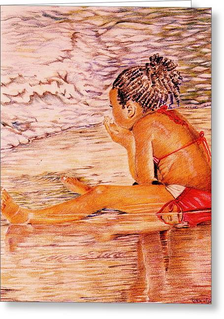 Contemplative Drawings Greeting Cards - African American Girl on the Beach Greeting Card by Candace  Hardy
