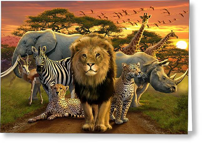 Lion Illustrations Greeting Cards - African Beasts Greeting Card by Andrew Farley