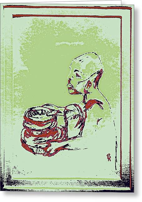Burgundy Drawings Greeting Cards - African Boy Blue Greeting Card by Sheri Parris