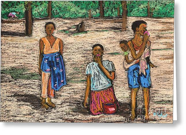 Africa Pastels Greeting Cards - African Children Greeting Card by Reb Frost