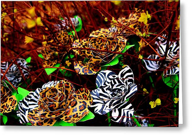Laura Grisham Mixed Media Greeting Cards - African Duck Tape Wildflowers Greeting Card by Laura  Grisham