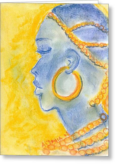 Beaded Pastels Greeting Cards - African girl Greeting Card by Aldonia Bailey