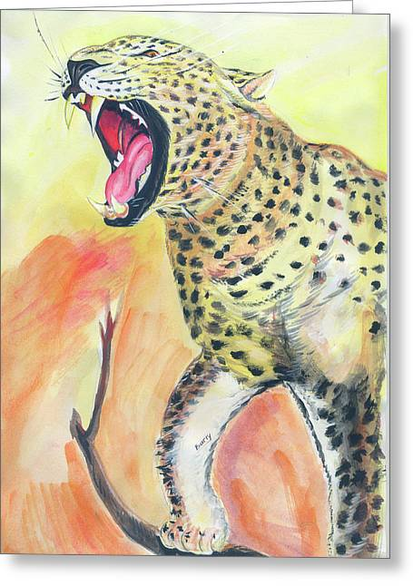 Emmanuel Baliyanga Greeting Cards - African Leopard Greeting Card by Emmanuel Baliyanga