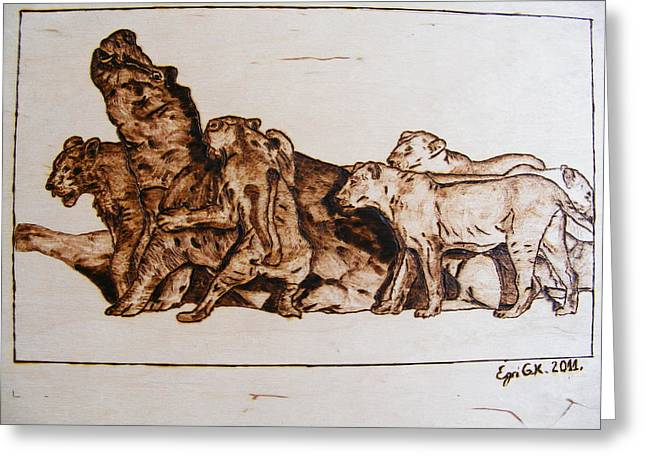 Hunting Pyrography Greeting Cards - African lioneses pack in hunting-pyrography study Greeting Card by Egri George-Christian