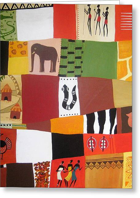 Water Jars Paintings Greeting Cards - African Matrix Greeting Card by Pat Barker