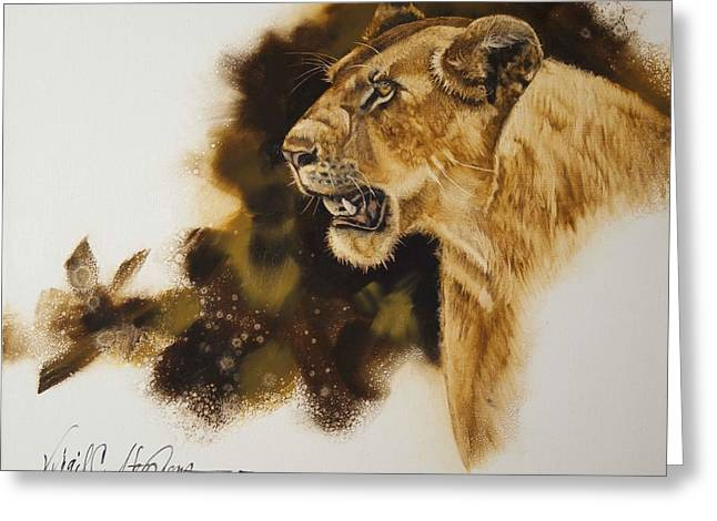 Lioness Greeting Cards - African Queen Greeting Card by Virgil Stephens
