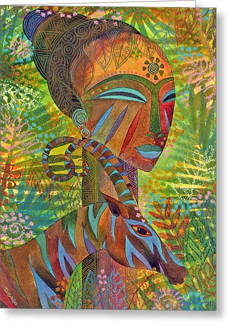 Mask Greeting Cards - African Queens Greeting Card by Jennifer Baird
