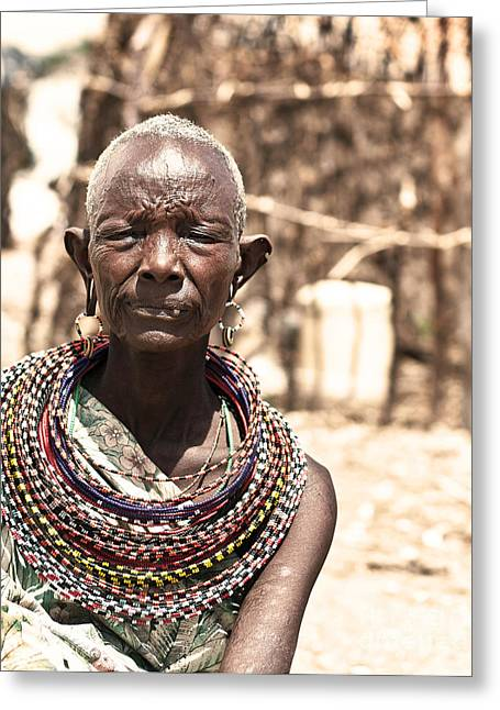 Black Clothes Greeting Cards - African tribal woman Greeting Card by Anna Omelchenko