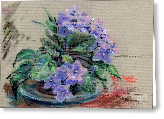 Violet Drawings Greeting Cards - African Violet Greeting Card by Donald Maier
