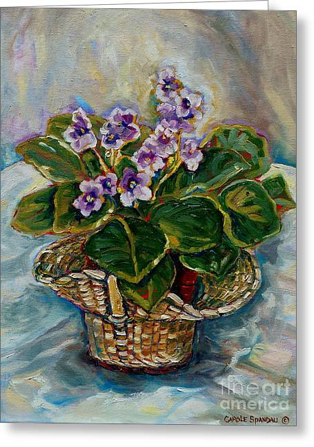 Indoor Still Life Paintings Greeting Cards - African Violets Greeting Card by Carole Spandau