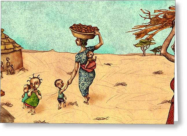 African Drawings Greeting Cards - Africans Greeting Card by Autogiro Illustration