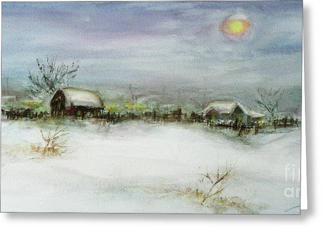 Snow-covered Landscape Greeting Cards - After a Heavy Fall of Snow Greeting Card by Xueling Zou