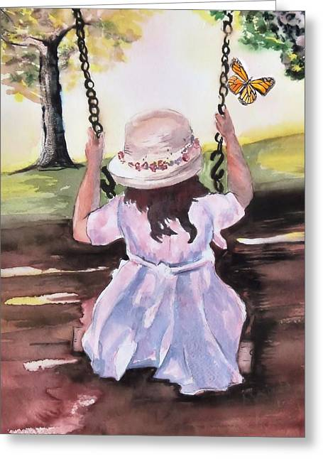 Child Swinging Paintings Greeting Cards - After Church Greeting Card by Myrna Migala