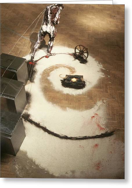 Wheels Sculptures Greeting Cards - After Daumier aerial view Greeting Card by Kyle Ethan Fischer