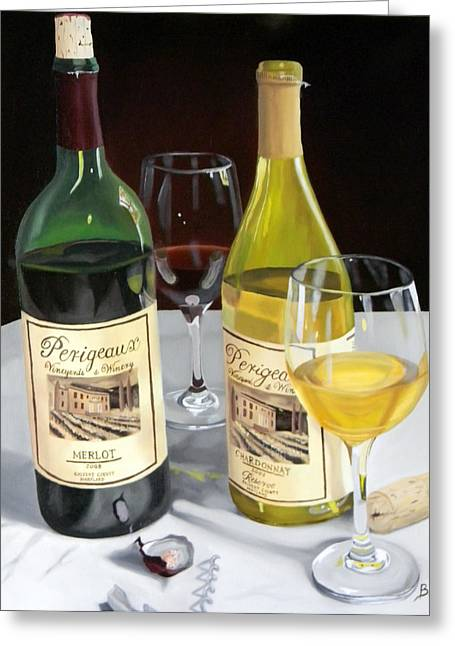Red Wine Prints Greeting Cards - After Five Greeting Card by Brien Cole