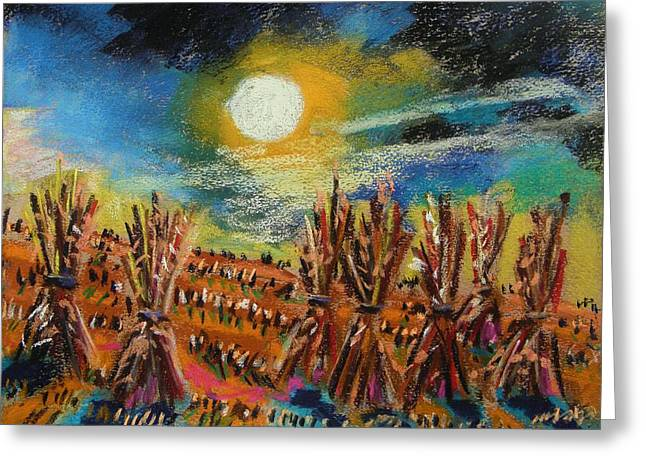 Row Pastels Greeting Cards - After Harvest Night Greeting Card by John  Williams