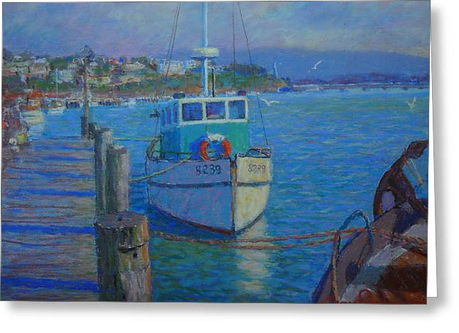 Fishing Boats Pastels Greeting Cards - After Rain Riverton Greeting Card by Terry Perham