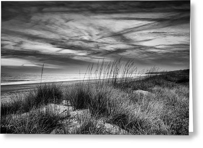 Beach Photograph Digital Art Greeting Cards - After Sunset In B and W Greeting Card by Phill  Doherty