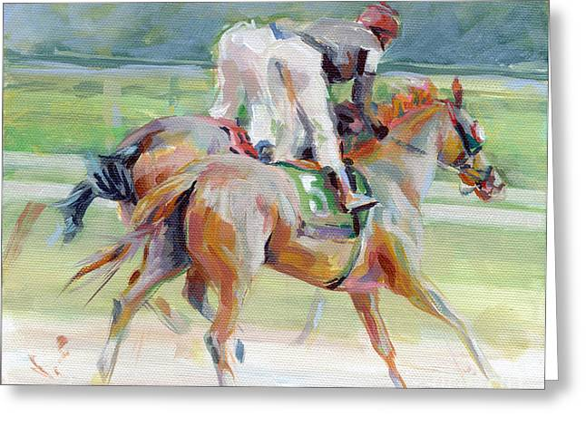 Race Horse Greeting Cards - After the Finish Greeting Card by Kimberly Santini
