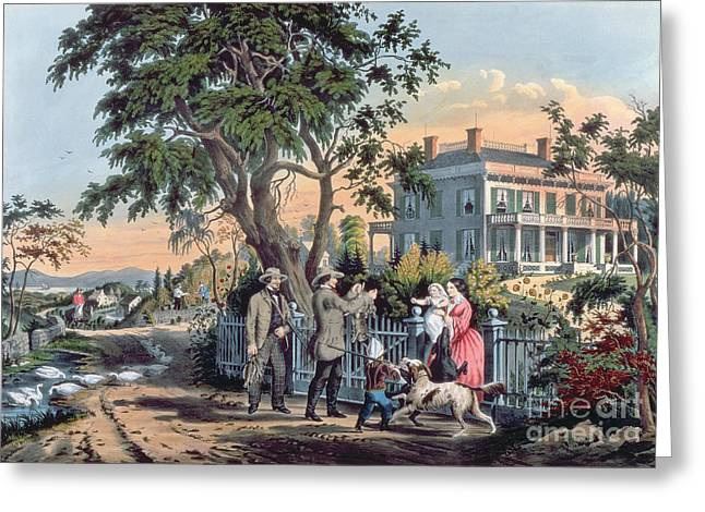Nathaniel Greeting Cards - After the Hunt Greeting Card by Currier and Ives