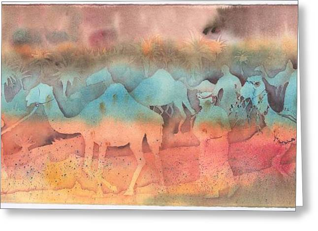 Sanddunes Paintings Greeting Cards - After The Race Greeting Card by Beena Samuel
