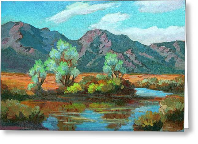 Desert Lake Paintings Greeting Cards - After the Rain Greeting Card by Diane McClary