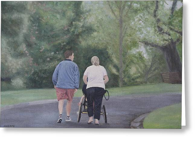 Family Walks Paintings Greeting Cards - After The Rain Greeting Card by Masami Iida
