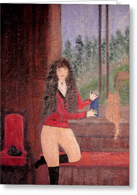 People Tapestries - Textiles Greeting Cards - After the Ride Greeting Card by Marie Katra