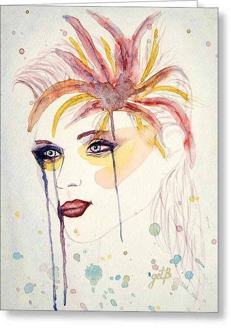 After The Show Watercolor On Paper Greeting Card by Georgeta  Blanaru