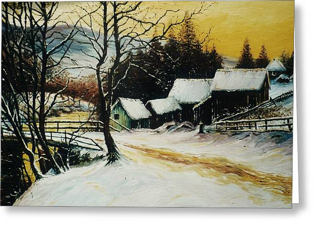 Snow Tree Prints Paintings Greeting Cards - After the snow Greeting Card by Andrew Read