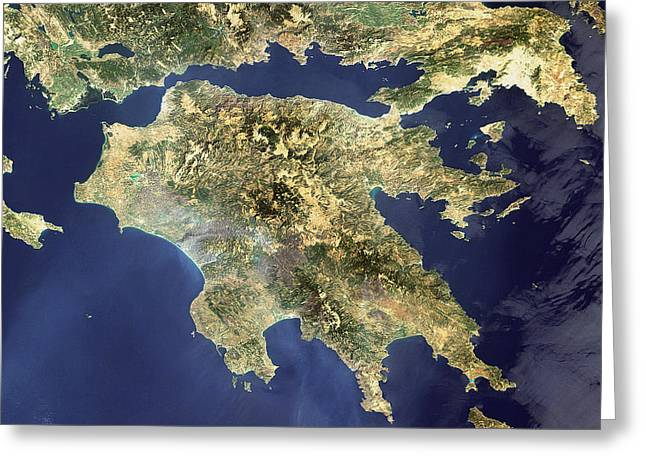 Esa Greeting Cards - Aftermath Of Greek Fires In 2007 Greeting Card by ASA/Science Source