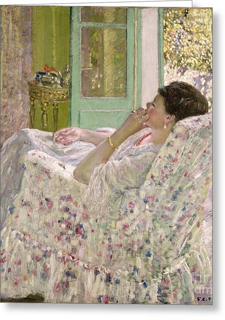 Flowery Greeting Cards - Afternoon - Yellow Room Greeting Card by Frederick Carl Frieseke