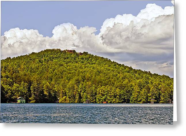 Susan Leggett Greeting Cards - Afternoon Clouds Over Lake Greeting Card by Susan Leggett