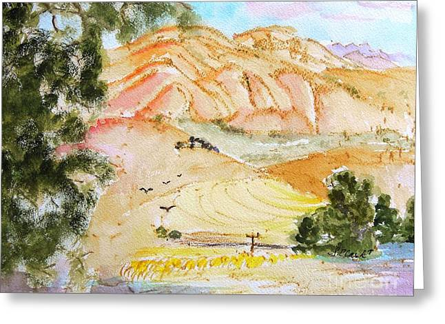 Santa Lucia Mountains Greeting Cards - Afternoon color Greeting Card by Susan  Clark