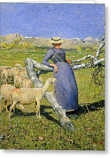 Branch Hill Greeting Cards - Afternoon in the Alps Greeting Card by Giovanni Segantini
